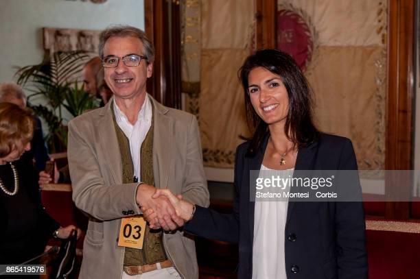 Virginia Raggi Mayor of Rome Rossano Ercolini Chairman of Zero Waste Italy and Zero Waste Europe during meet in Campidoglio for the 'Zero Waste'...