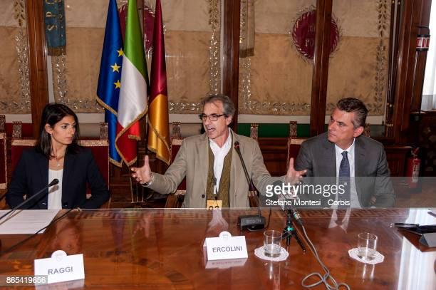 Virginia Raggi Mayor of Rome Rossano Ercolini Chairman of Zero Waste Italy and Zero Waste Europe Lorenzo Bagnacani President Ama SpA during meet in...