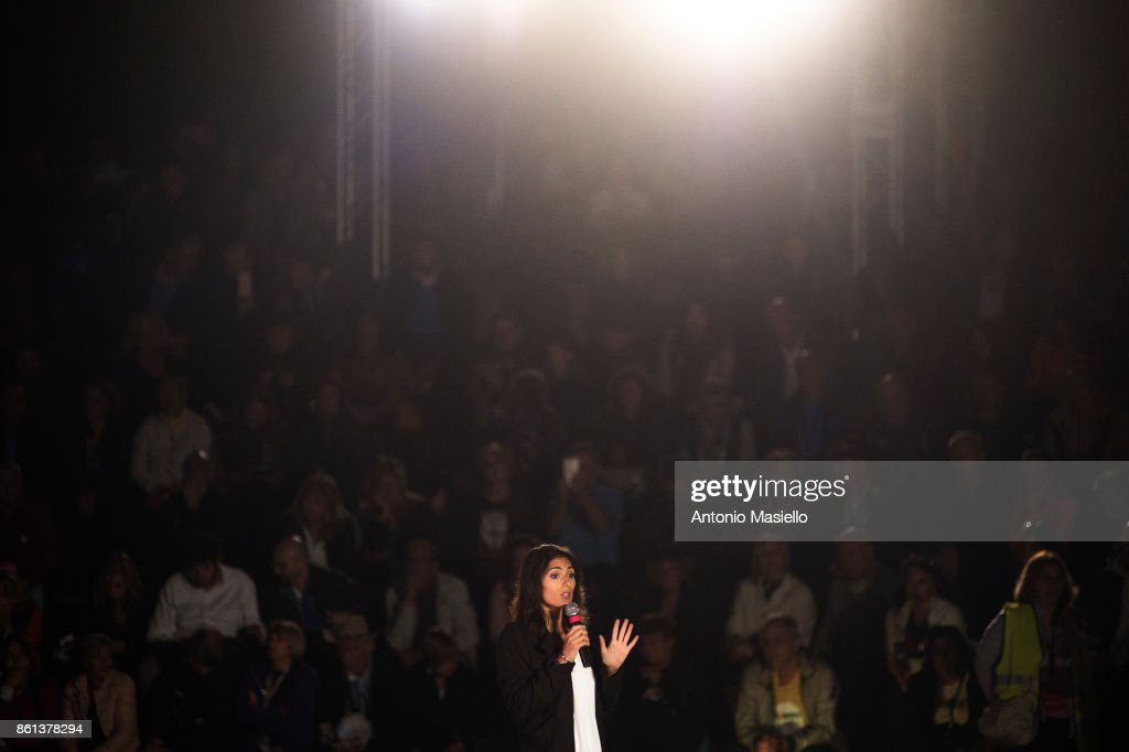 Virginia Raggi, Mayor of Rome, speaks during the political meeting organized by Five star movement for present the candidate for the presidency of the Lazio Region on October 14, 2017 in Marino, Roma, Italy.