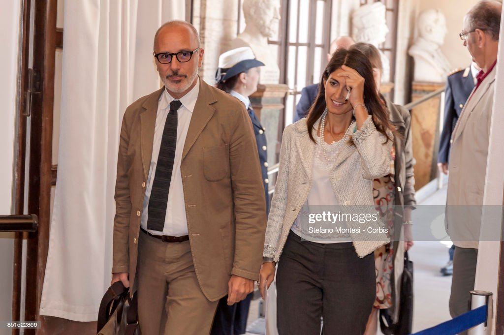 Virginia Raggi, Mayor of Rome with Luca Montuori Councillor for Urban Planning present the project for the requalification of the former General Markets on September 22, 2017 in Rome, Italy. The project includes a public gallery, a new municipal library, a main course, three squares, an elderly centre, a conference room, a cinema, a sports area, a shopping area and an accommodation area with student buildings.