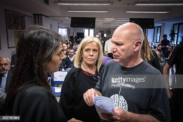 Virginia Raggi with Fabio Meloni former director of the Cinema Aquila during Virginia Raggi meets entrepreneurs of CNA