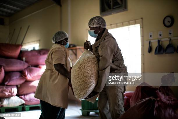 Virginia Ramuhuhu and Enos Chavalala haul bags of baobab fruit seeds at the EEco Products lab headquarters in Louis Trichardt in the Limpopo Province...