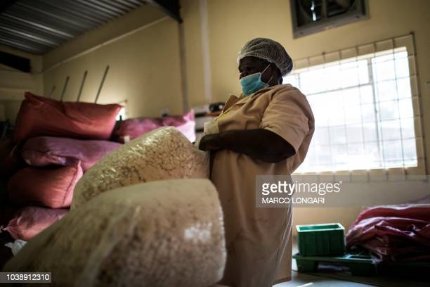 Virginia Ramuhuhu hauls bags of baobab fruit seeds at the Eco Products lab headquarters in Louis Trichardt in the Limpopo Province on August 27 2018...