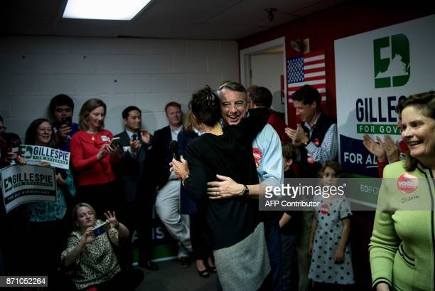 Virginia Republican gubernatorial hopeful Ed Gillespie hugs Jill Vogel Republican nominee for lieutenant governor during a rally on the eve of state...