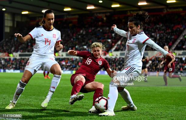 Virginia Reyes and Ivana Sanz of Spain tackle Ellen White of England during the International Friendly between England Women and Spain Women at the...