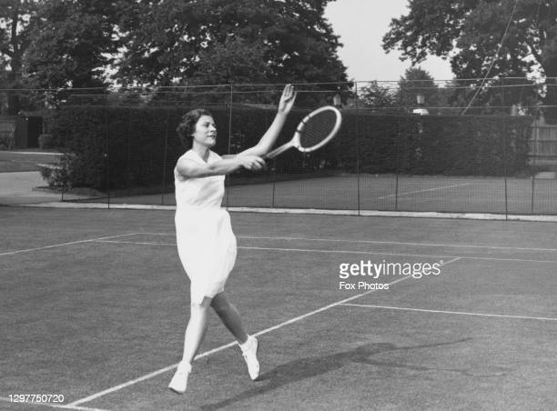 Virginia Rice of the United States practicing her forehand strokes in preparation for her Women's Singles First Round match at the Wimbledon Lawn...