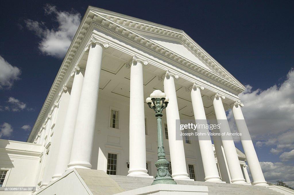 USA, Virginia, Richmond, Virginia State Capitol Building facade, low angle view : Stock Photo