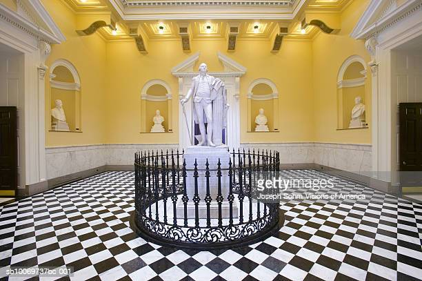 usa, virginia, richmond, virginia state capitol rotunda with george washington statue - geometrical architecture stock photos and pictures