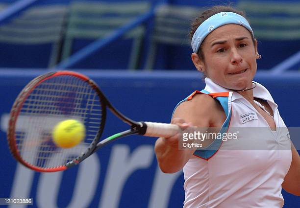 Virginia Ruano Pascual during the 2007 Estoril Open Women's Singles match between Marion Bartoli and Virginia Ruano Pascual in Lisbon Portugal on May...