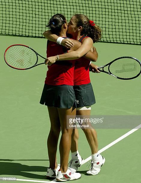 Virginia Ruano Pascual of Spain celebrates victory with Paola Suarez of Argentina during the Womens Doubles Final match against Svetlana Kuznetsova...