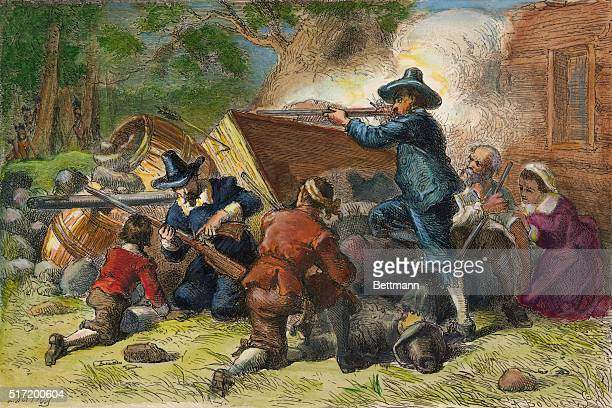 Virginia settlers defending their property against Indians during Bacon's Rebellion 1676