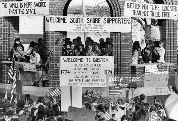 Virginia Sheehy of the South Boston Home and School Association speaks during an antibusing demonstration at Marine Park in South Boston on Oct 28...