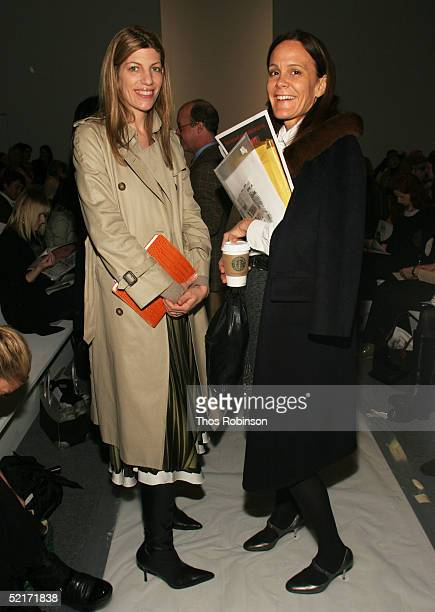 Virginia Smith Vogue magazine and Julie Gillheart from Barneys attend the Jeffrey Chow Fall 2005 fashion show during the Olympus Fashion Week at...