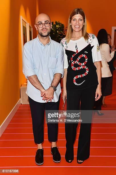 Virginia Smith with Bally Design Director Pablo Coppola at the Bally Womens Spring Summer 2017 Presentation in Milan 24 September 2016 in Milan Italy