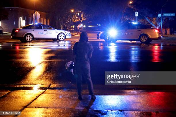 Virginia State Police cruisers block the entrance to the Municipal Center following a deadly mass shooting May 31 2019 in Virginia Beach Virginia At...