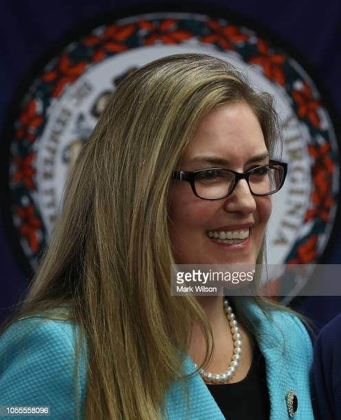 Virginia State Senator and candidate for the US House of Representatives Jennifer Wexton greets supporters during a rally at the Wexton campaign...