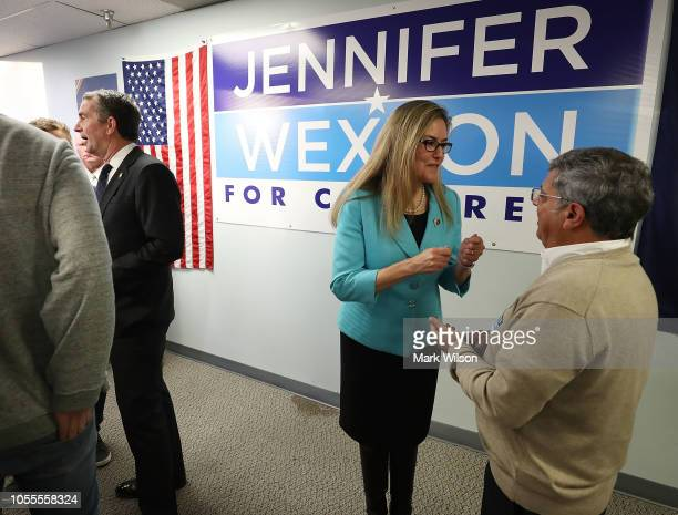 Virginia State Senator and candidate for the US House of Representatives Jennifer Wexton greets supporters during a rally with Virginia Governor...