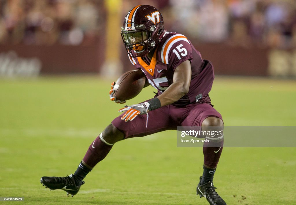 Virginia Tech Hokie wide receiver Sean Savoy (15) moves down field during a college football game between the West Virginia Mountaineers and the Virginia Tech Hokies on September 3, 2017, at Fedex Field, in Landover, MD. Virginia Tech defeated West Virginia 31-24.