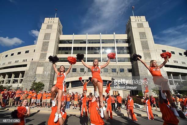 Virginia Tech Hokies cheerleaders perform outside Lane Stadium prior to the game against the Ohio State Buckeyes on September 7 2015 in Blacksburg...