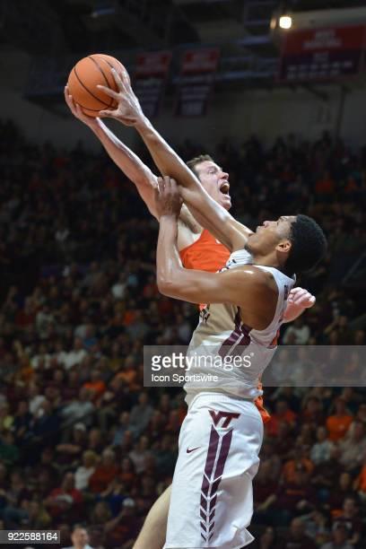 Virginia Tech Hokies forward Kerry Blackshear Jr blocks Clemson Tigers forward David Skara during a college basketball game on February 21 at Cassell...