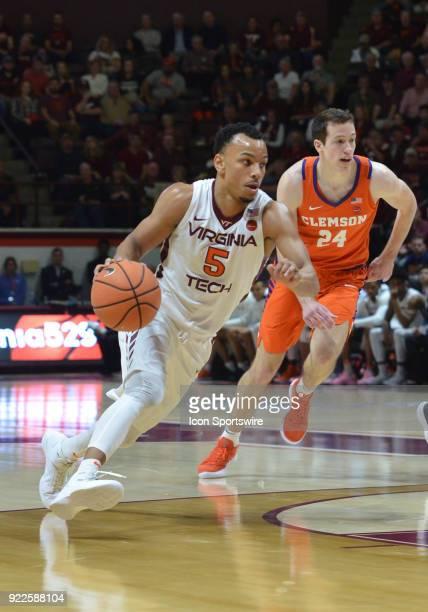 Virginia Tech Hokies guard Justin Robinson drives the lane during a college basketball game between the Virginia Tech Hokies and the Clemson Tigers...
