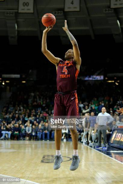 Virginia Tech Hokies guard Nickeil AlexanderWalker knocks down the three pointer during the game between the Virginia Tech Hokies and Notre Dame...