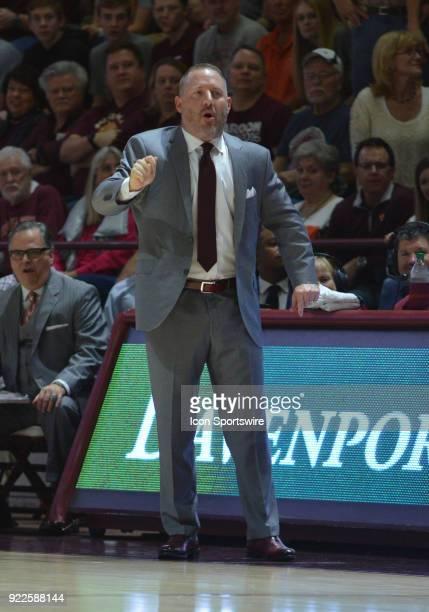 Virginia Tech Hokies head coach Buzz Williams reacts to a play during a college basketball game between the Virginia Tech Hokies and the Clemson...