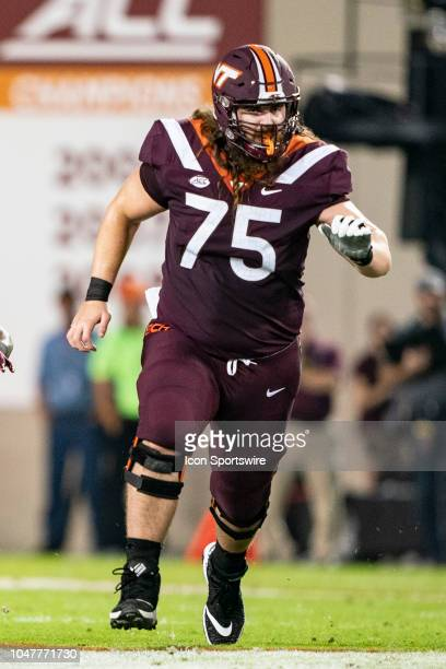 Virginia Tech Hokies Offensive Lineman Zachariah Hoyt blocks during the first quarter of the Notre Dame Fighting Irish versus the Virginia Tech...