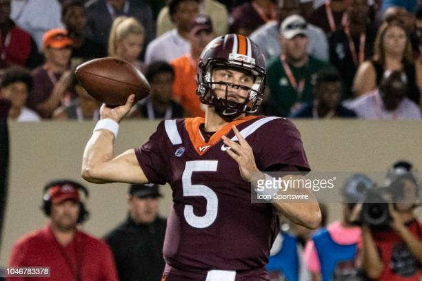 Virginia Tech Hokies Quarterback Ryan Willis throws the ball during the first quarter of the Notre Dame Fighting Irish versus the Virginia Tech...
