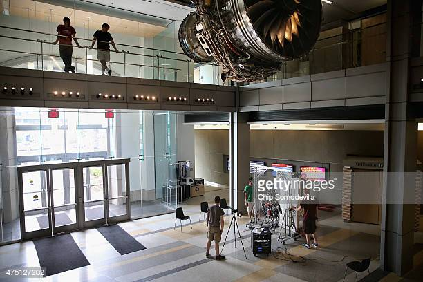 Virginia Tech mechanical engineer studens test the ESCHER robot at the in the lobby of the Goodwin building on campus May 26 2015 in Blacksburg...
