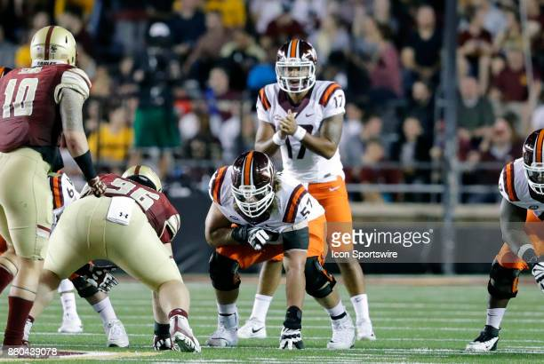 Virginia Tech offensive lineman Wyatt Teller gets set during a game between the Boston College Eagles and the Virginia Tech Hokies on October 7 at...