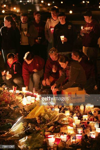Virginia Tech students create a makeshift memorial to honor the students who were killed in a recent shooting on the campus April 17 2007 in...