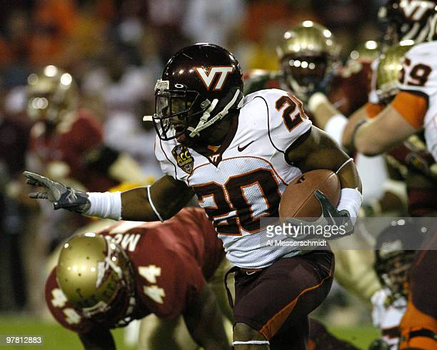 Virginia Tech tailback Mike Imoh rushes upfield against Floida State at the 2005 ACC Football Championship Game on December 3 2005 in Jacksonville...