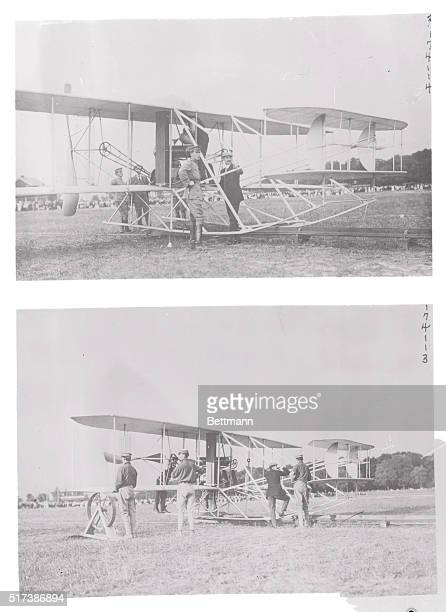 Testing Out The New Wright Brothers Biplane at Fort Myer 1909 Side view of plane Orville Wright is testing the struts It was his habit to test out...