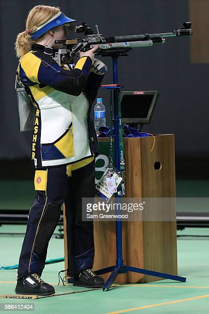 Virginia Thrasher of the United States competes in the 10m Air Rifle Women's Finals on Day 1 of the Rio 2016 Olympic Games at the Olympic Shooting...