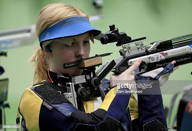 Virginia Thrasher of the United States competes in the 10m Air Rifle Women's Qualifying round on Day 1 of the Rio 2016 Olympic Games at the Olympic...
