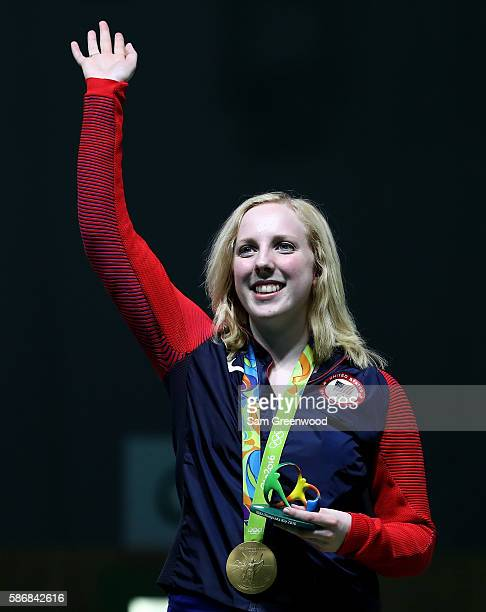 Virginia Thrasher of the United States waves after winning the gold medal in the 10m Air Rifle Women's Finals on Day 1 of the Rio 2016 Olympic Games...