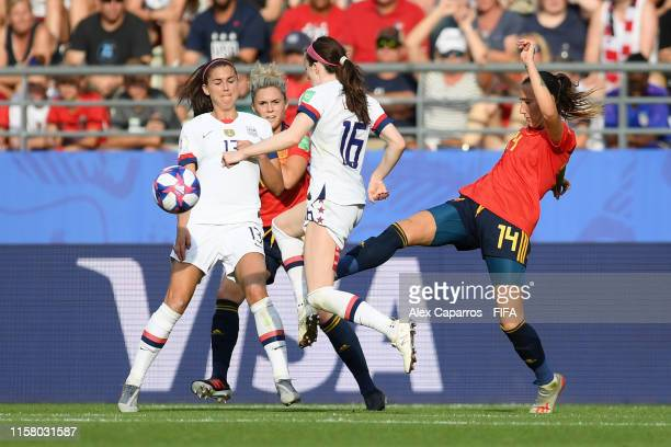 Virginia Torrecilla of Spain fouls Rose Lavelle of the USA in the box and a penalty is later awarded during the 2019 FIFA Women's World Cup France...