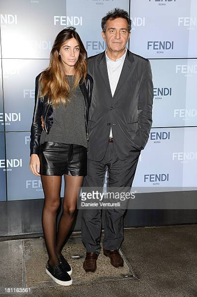 Virginia Valsecchi and Pietro Valsecchi attend the Fendi show as a part of Milan Fashion Week Womenswear Spring/Summer 2014 on September 19 2013 in...