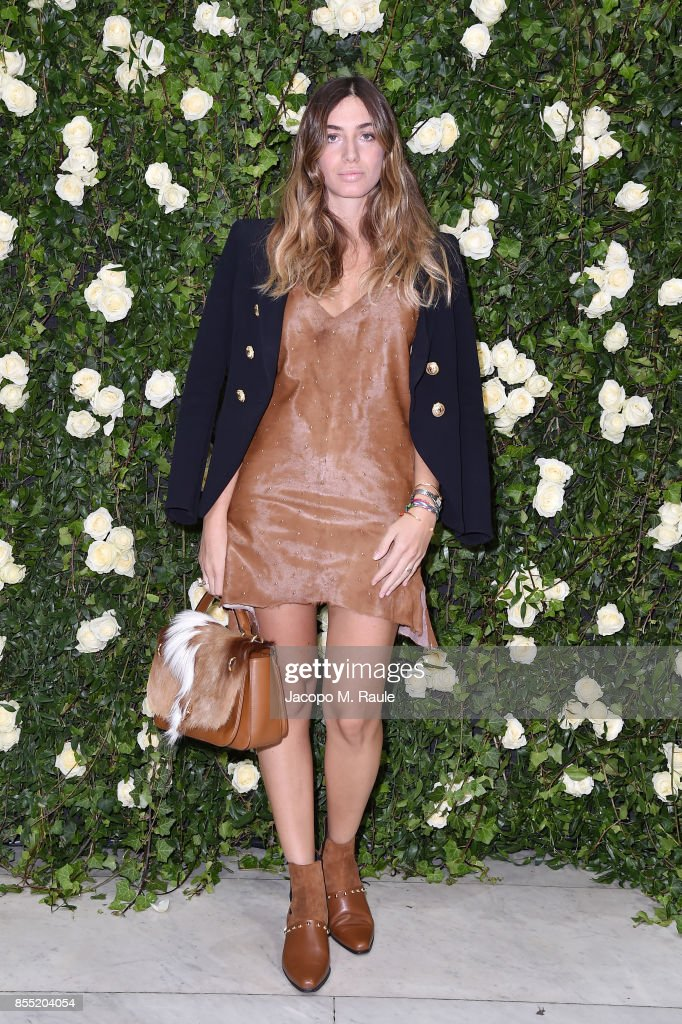 Virginia Valsecchi attends the Balmain show as part of the Paris Fashion Week Womenswear Spring/Summer 2018 on September 28, 2017 in Paris, France.