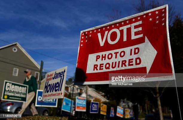 Virginia voters head to the polls at Nottingham Elementary School November 5 2019 in Arlington Virginia All 140 seats in the General Assembly are on...