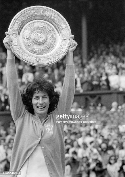 Virginia Wade of Great Britain celebrates with the Venus Rosewater Dish after defeating Betty Stove of the Netherlands in the Ladies Final during the...