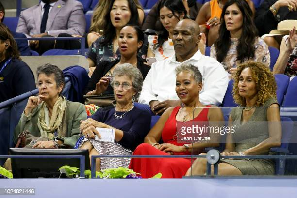 Virginia Wade, USTA President Katrina Adams, above Mike Tyson and his wife Lakiha Spicer attend the opening night gala of the 2018 tennis US Open...