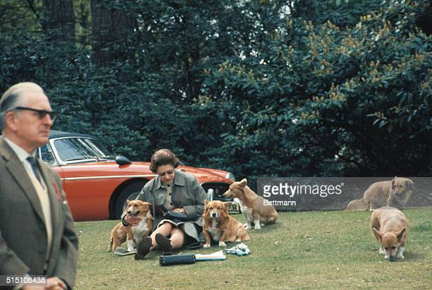 Virginia Water, England: A non-typical reader in the park, surrounded by family pets is England's Queen Elizabeth II. The monarch is taking time out...