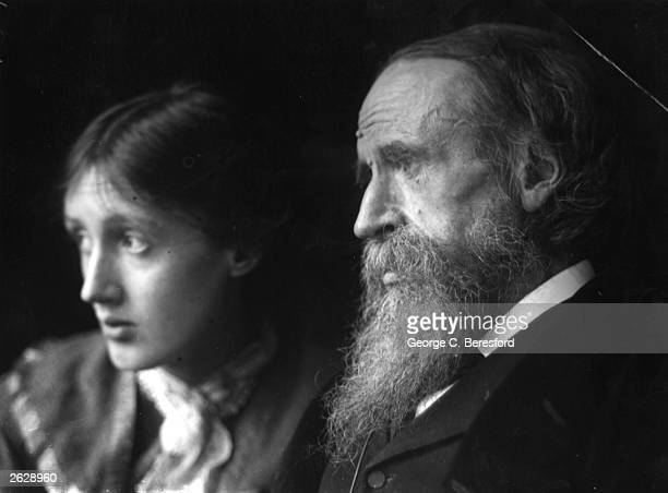 Virginia Woolf nee Stephen the English novelist critic and essayist and sister of Vanessa Bell is pictured with her father Sir Leslie Stephen...
