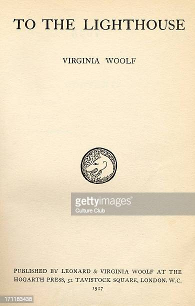 Virginia Woolf 's novel 'To the Lighthouse' published by Leonard and Virginia Woolf at the Hogarth Press London 1927 1st edition English novelist 25...