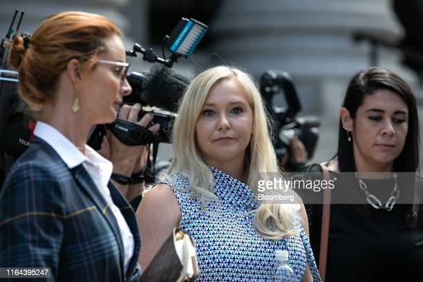 VirginiaGiuffre an alleged victim of Jeffrey Epstein center exits from federal court in New York US on Tuesday Aug 27 2019 Epstein a convicted...