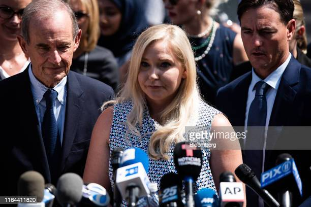 VirginiaGiuffre an alleged victim of Jeffrey Epstein center pauses while speaking with members of the media outside of federal court in New York US...
