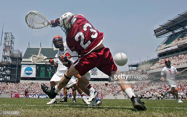 Virginia's Danny Glading gets a shot and goal past Massachusetts goalie Doc Schneider during the Division I Lacrosse Finals between University of...