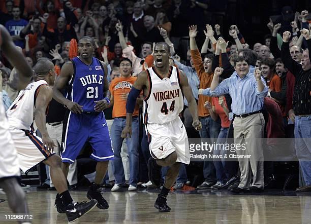 Virginia's Sean Singletary celebrates his gamewinning basket against Duke at John Paul Jones Arena in Charlottesville Virginia Thursday February 1...